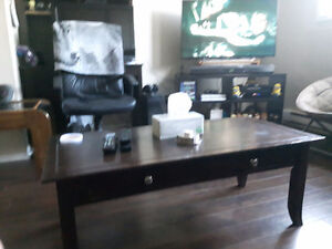 coffee table and 2 end tables and a round dinning table