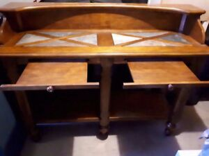 $55.00 NOW! BEAUTIFUL TUCKER Tiled Table Top Writing Desk/Hutch!