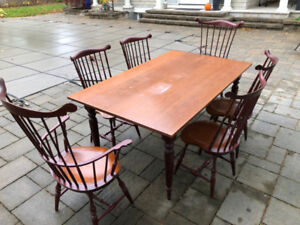 Solid cherry table and 6 chairs custom made Abacus Toronto