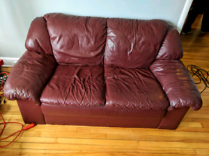 Leather love seat couch