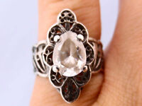 Vtg Pear CZ Elevated Top Sides Filigree 925 Silver Ring Sz 5 1/2