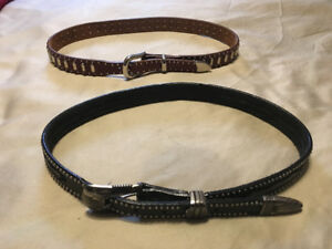 2 all leather women's belts.  Size 34