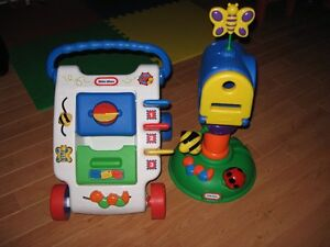 Little Tikes Mailbox and Mail Cart with three letters