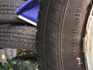 4 Michelin winter tires with rims 215/60R16in Gatineau Ottawa / Gatineau Area image 1