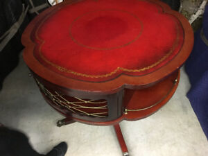 Antique Cherry bar table with leather top - great shape $575