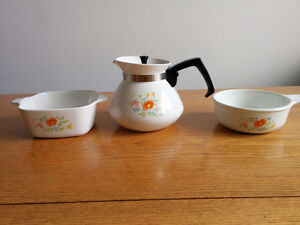Corning Ware Wildflower Teapot and Casserole Dishes