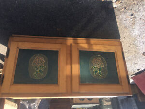 Wood cabinet with glass insert