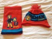 Fireman Sam hat and scarf set age 1-3