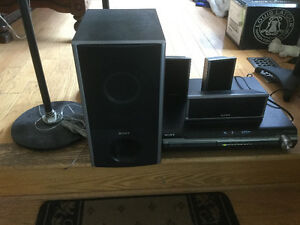 5 Sony speakers and a subwoofer + 5CD/DVD disc changer/receiver