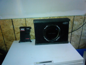 "Mtx 10"" low profile sub and 200 watt single channel mtx amp"