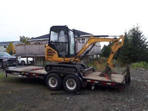 2014 CAT mini excavator and 26ft tilt deck trailer