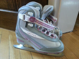 Softec figure skates, grey & purple, size 4