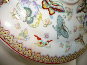 ASIAN porcelain BUTTERFLY CANDLE JAR cloisonné STUNNING large Cambridge Kitchener Area image 4