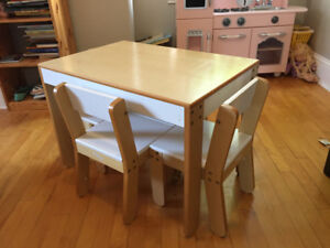 Kids play table and chairs set, wood, P'kolino brand.