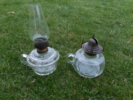 Two old oil finger lamps