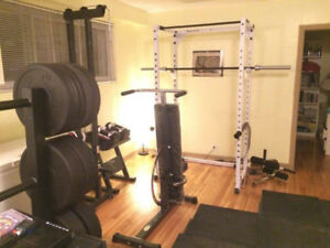Home Gym, Squak rack, cable tower, ironmaster super bench, etc