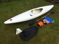 Pyranha Master kayak canoe, paddle, spray deck,buoyancy aid, helmet and skeg