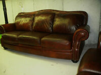 2 PCS BROWN CLASSIC ALL LEATHER SOFA SET paid $4500