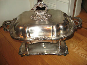 GORGEOUS OLD VINTAGE 5-PC.SILVERPLATE CHAFING DISH ENSEMBLE
