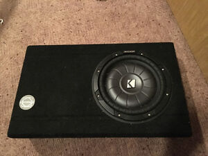 "12"" Kicker sub in box with 5 channel Kenwood amp"