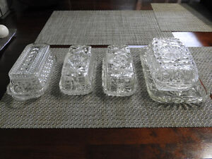 Glass butter dishes - $5 each (one is $7 with additional base)