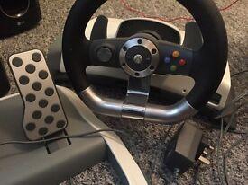 Original Xbox 360 force feedback steering wheel
