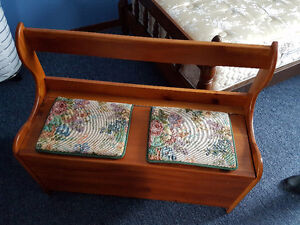 Two wood storage benches