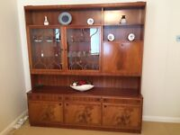 McIntosh Dining Room Display Unit Cupboard Drinks Cabinet 2 Parts Walnut Inlay