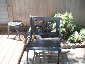 Wrought iron bench chair outdoor