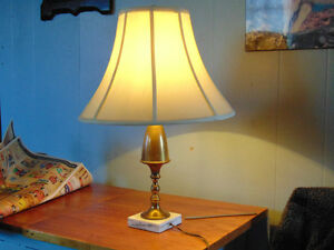 Antique Solid Brass Lamp,with Marble base