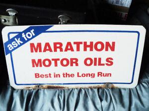 Rare Marathon Motor Oil Painted Metal Single Sided Advert., Sign
