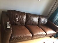 Leather sofa chair & footstool