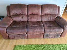 Free 3 Seater Reclining Fabric Sofa