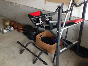 Bench press with weights, curl bar, more