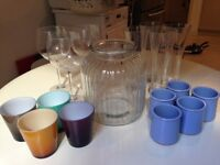 Selection of high quality glassware - wine glasses, tumblers, tall glasses, jar, pots