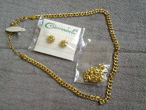 Faux Gold Necklace, Bracelet, and Earrings