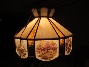 """Antique Currier & Ives Ceiling Lamp Stain Glass Shade Dia. 20.5"""" Stratford Kitchener Area image 4"""