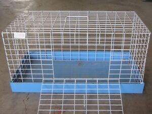 Sturdy blue metal pet cage
