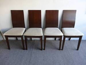4 DINING CHAIRS MODERN TIMBER & PLY CHOCOLATE BROWN BEIGE SEAT VG Geebung Brisbane North East Preview