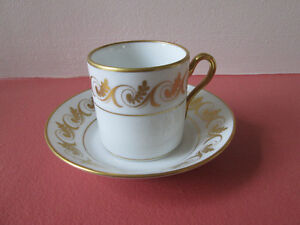 GOLD RIMMED DEMI TASSE AND SAUCER MADE IN ITALY
