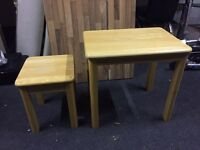 2 x rubber wood side coffee tables
