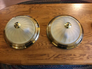 Pair of Brass and Glass ceiling lights