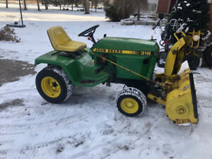 John Deere 318 with mower and snowblower - good condition