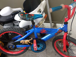 Spiderman Bike 16 i, electric bike  and bowling set for 35 only.