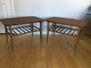 2 Tables en Noyer ** Mid Century ** Walnut End Tables