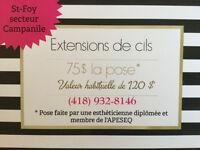 Extensions de cils 75$ - St-Foy