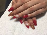 Manicure, pedicure, gel varnish overly on own nails, nail enhancements