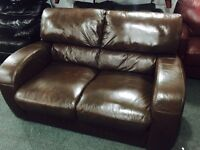2 as new chestnut brown leather 2 seater sofas