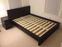 King Size black/brown Ikea malm bed