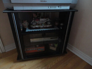 Wooden black/glass doors front TV stand media storage unit London Ontario image 1
